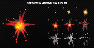 Vector explode. Explode effect animation with smoke. Cartoon explosion frames. Sprite sheet of explosion. Explode effect animation with smoke. Cartoon explosion Stock Photos