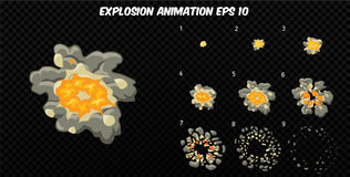 Vector explode. Explode effect animation with smoke. Cartoon explosion frames. Sprite sheet of explosion. Explode effect animation with smoke. Cartoon explosion Royalty Free Stock Images