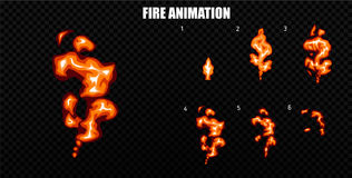 Vector explode. Explode effect animation with smoke. Cartoon explosion frames. Sprite sheet of explosion. Explode effect animation with smoke. Cartoon explosion Royalty Free Stock Photography