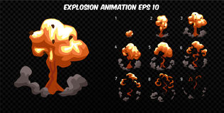 Vector explode. Explode effect animation with smoke. Cartoon explosion frames. Sprite sheet of explosion. Explode effect animation with smoke. Cartoon explosion Stock Images