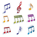 Vector expressive jolly musical notes and symbols isolated on wh Royalty Free Stock Images
