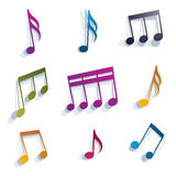 Vector expressive jolly musical notes and symbols isolated on wh Stock Image