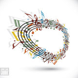 Vector expressive rounded stave with musical notes Stock Images
