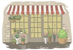 Vector exterior del ejemplo del bosquejo gráfico del color de la tienda de la floristería ilustración del vector