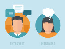 Vector extraversion-introversion infographics in flat style. Man and woman with different personality types Royalty Free Stock Photography