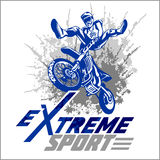 Vector eXtreme sport - moto emblem. Vector eXtreme sport - motocross and emblem Royalty Free Stock Images