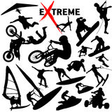 Vector extreme sportsilhouetten Royalty-vrije Stock Fotografie