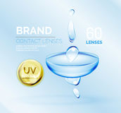 Vector eye contacts lenses ad template Royalty Free Stock Images