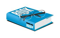 Vector of eye glasses on top of book. White isolated Vector of eye glasses on top of book Royalty Free Stock Photography