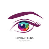 Vector eye illustration with colorful pupil. Royalty Free Stock Photography