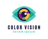 Vector Eye Logo. Color Vision Concept, business card template Royalty Free Stock Image