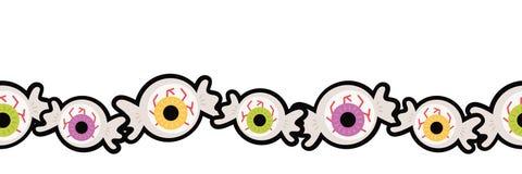 Vector Eyeball Halloween Hard Candy Seamless Border stock photography
