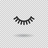 Vector eyelash. Lash icon. Close eye with shadow. Vector illustration. Isolated on transparent background Stock Photos