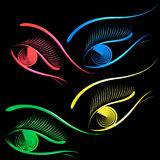 Vector eyes on a black background. Royalty Free Stock Image