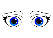 Vector eyes. Cartoon style female eye. Colorful bright eyes. Anime manga style hand drawn girl eyes. Vector isolated. Royalty Free Stock Images