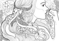Vector färbendes schönes Mädchen mit einem Band in ihrem Haar und in Rebe, die Trauben essen Stockfoto