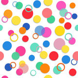 Vector fabric circles abstract seamless pattern background  with bright elements Royalty Free Stock Images