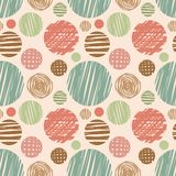 Vector fabric circles abstract seamless pattern Royalty Free Stock Photos