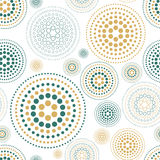 Vector fabric circles abstract seamless pattern background  with hand drawn elements. Art Royalty Free Stock Images