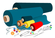 Vector fabric sewing accessories Royalty Free Stock Images