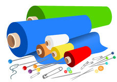 Vector fabric sewing accessories royalty free illustration
