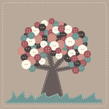 Vector fabric tree with buttons treetop Stock Photography