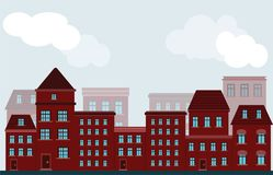 Vector facade of buildings of houses of red color on a street in Royalty Free Stock Photography