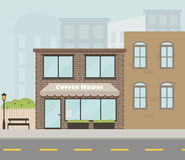 Vector facade of the house with coffee shop/cafe in flat style Royalty Free Stock Photo