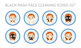 Vector Face Cleaning And Care Actions Set Stock Photography