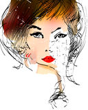 Vector face of girl Royalty Free Stock Images