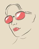 Vector face in glasses Royalty Free Stock Photos