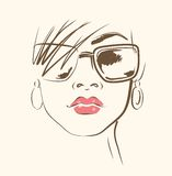 Vector face in glasses Stock Photography