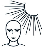 Vector face under sun illustration isolated on white Stock Photography