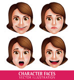 Vector Face of Woman Head Character with Facial Expressions Stock Photography