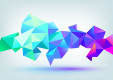 Vector faceted 3d crystal colorful shape, banner. Crystal banner, horizontal orientation Royalty Free Stock Image