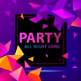 Vector faceted party poster, flyer. Modern 3d futuristic. Background Royalty Free Stock Images