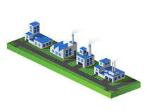 Vector factories. Vector isometric portion of the landscape with factories Royalty Free Stock Image