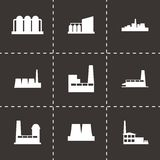 Vector factory icon set. On black background Stock Photos