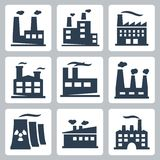 Vector factory icons set Royalty Free Stock Images