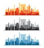 Vector Fahne mit Fabriken, Kraftwerken und Raffinerien Stockfoto