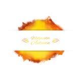 Vector Fahne mit Spritzen des Aquarells in den Herbstfarben Lizenzfreies Stockbild