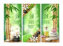 Vector Fahnen für Badekuren mit Riechsalz, Massageöl, Kerzen Stockbild