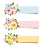 Vector Fahnen mit bunten Rosen und lisianthus Blumen Lizenzfreie Stockbilder