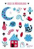 Vector fairytale elements. Fairytale cute elements. Color vector items. Illustration with cat and decor. Design for prints and cards Stock Images