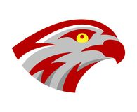 Vector falcon or hawk head sport game play team logo mascot design. American wild eagle abstract bird beak symbol sign. Concept royalty free illustration