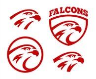 Vector falcon or hawk head sport logo mascot design set. American wild eagle abstract beak symbol sign. Concept vector illustration
