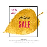Autumn sale banner with black frame and gold leaf. Vector fall background. Autumn sale banner with isolated black frame and gold autumn leaf vector illustration