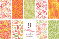 Vector Fall Leaves Nine Set Seamless Patterns Stock Photography