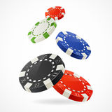 Vector Falling Poker Chips Royalty Free Stock Photography