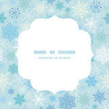 Vector falling snow circle frame seamless pattern Royalty Free Stock Images